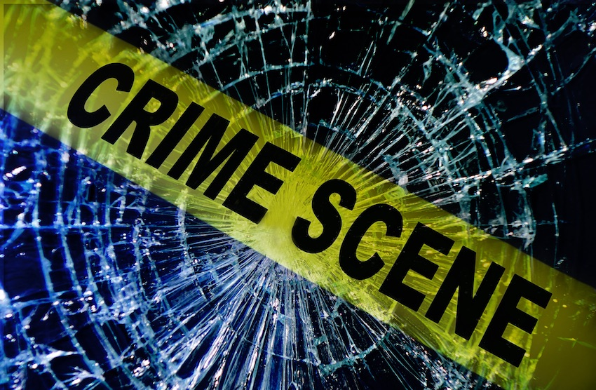 crime scene with broken glass